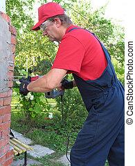 trabajando, macho, martillo neumático, destruir, el, viejo,...