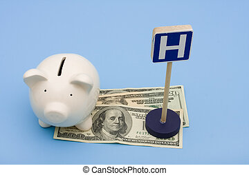 Healthcare Costs - A piggy bank with money and a hospital...