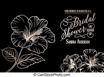 Bridal shower template with exotic flowers. Vector...