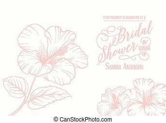 Bridal shower invitation with exotic flowers Vector...
