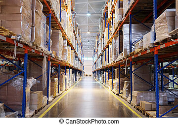 shelves in the warehouse