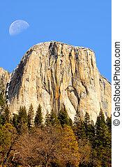 Moon Over El Capitan Yosemite Valley California