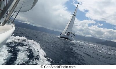 Boat in sailing regatta - Luxury yachts. Boat in sailing...