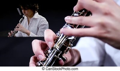 Oboe, collage - Musician playing oboe, montage