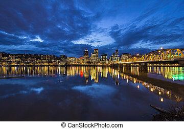 Bridge to Portland Downtown at Blue hour - Hawthorne Bridge...