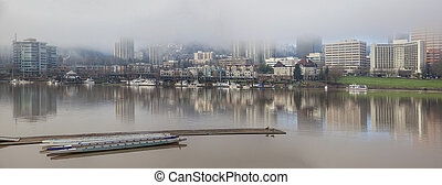 Marina by Willamette River Panorama - Marina by Willamette...