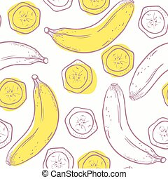 Outline stylized seamless pattern with banana