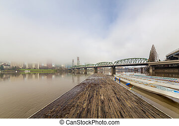 Floating Boat Dock on Willamette River with Portland Oregon...