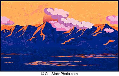 Mountains in the manner of Impressionism - stylized vector...