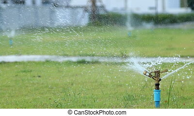 water sprinkler in garden field, green grass background.