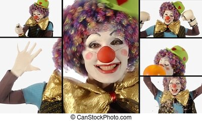 A funny clown, collage - Bumbling adorable clown's...