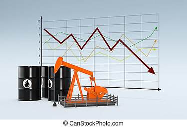 oil market - oil barrels and a pumpjack with a chart on...