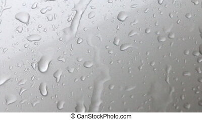 Abstract background of water drops and flow on glass