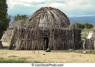 Houses Hamer - Houses of people from a tribe Hamer
