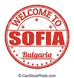 Welcome to Sofia stamp - Welcome to Sofia grunge rubber...