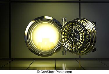 bank vault - opened door of bank vault with a yellow light...