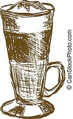 doodle latte macchiato coffee