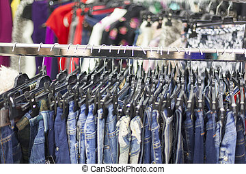 Clothes Rack - Clothing Store - Clothes Rack With Jeans-...