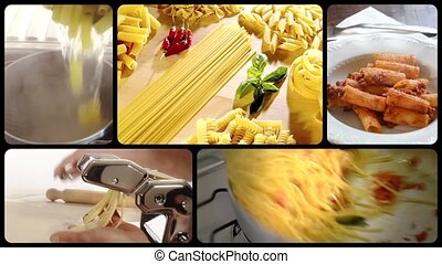 Italian pasta montage - Italian food, pasta collage