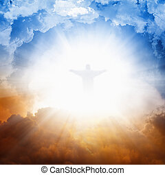 Jesus Christ in heaven - Christ silhouette in sky , bright...