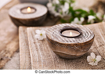 Wellness products - Spa and wellness setting with natural...
