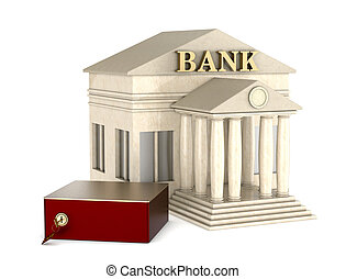 safe deposit box - one safe box with a bank building on...