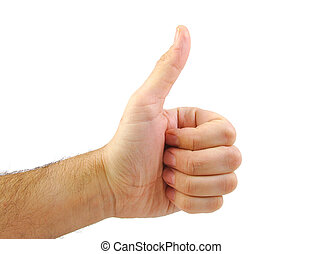 Single hand with OK sign isolated on white background