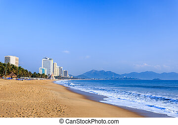 Nha Trang City Beach, Early Morning - Nha Trang City Beach,...