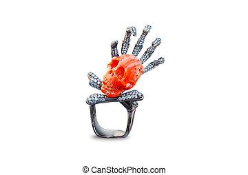 dourado, cranio, anel, com, diamantes,