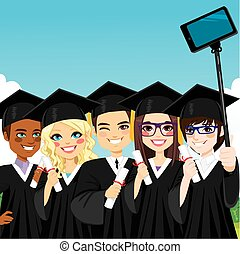 Graduation Group Selfie - Young group of students taking...