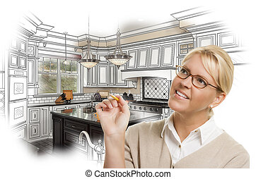 Woman With Pencil Over Custom Kitchen Design Drawing and Photo C