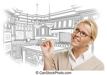 Woman With Pencil Over Custom Kitchen Design Drawing