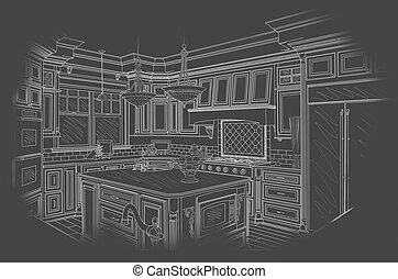 White Custom Kitchen Design Drawing on Grey - Beautiful...