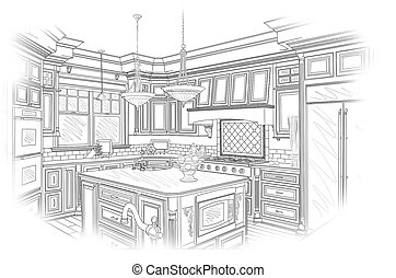 Black Custom Kitchen Design Drawing on White - Beautiful...