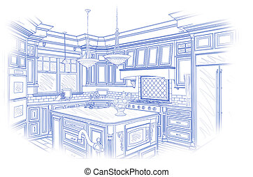 Blue Custom Kitchen Design Drawing on White - Beautiful...