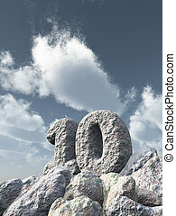 number ten rock under cloudy blue sky - 3d illustration