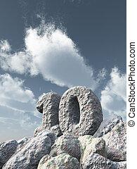 number ten rock under cloudy blue sky - 3d illustration