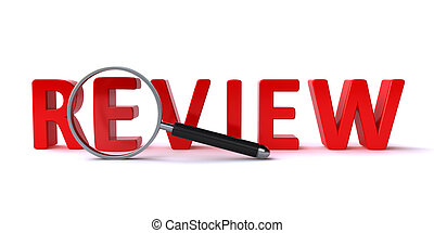 Review concept with a magnify glass and 3d review text on...