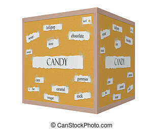 Candy 3D Corkboard Word Concept with great terms such as...