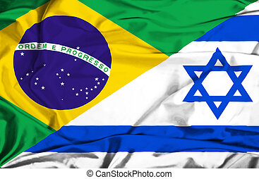 Waving flag of Israel and Brazil