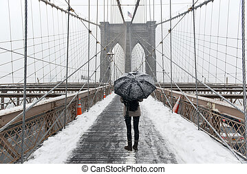Brooklyn Bridge, Snowstorm - New York CIty - Brooklyn Bridge...