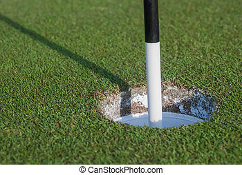 Marker in Golf Hole - A black and white marker in a golf...