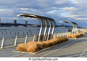 West Side Highway Walkway, New York City - Walkway along the...