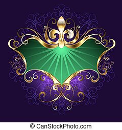 banner mardi gras - Green banner with the golden lily on a...