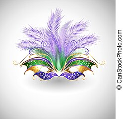 Mardi Gras mask - bright mask with purple and green...