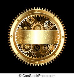 Round Mechanical banner - round banner with gears on a black...
