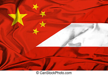 Waving flag of Austria and China