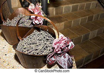 Lavendar Confetti - Two iron baskets filled with lavendar...