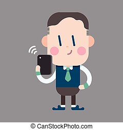 Character office man using cell phone theme elements