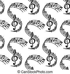 Wavy music stave seamless pattern - Seamless sheet music...
